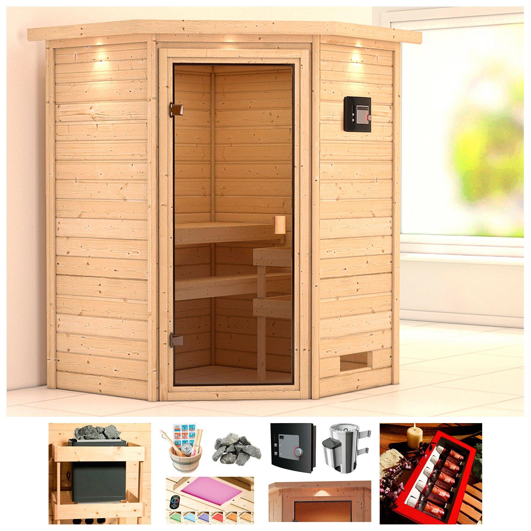 KONIFERA Sauna »Rügen«, BxTxH: 174x160x191 cm, 3,6 kW Ofen mit ext. Steuerung