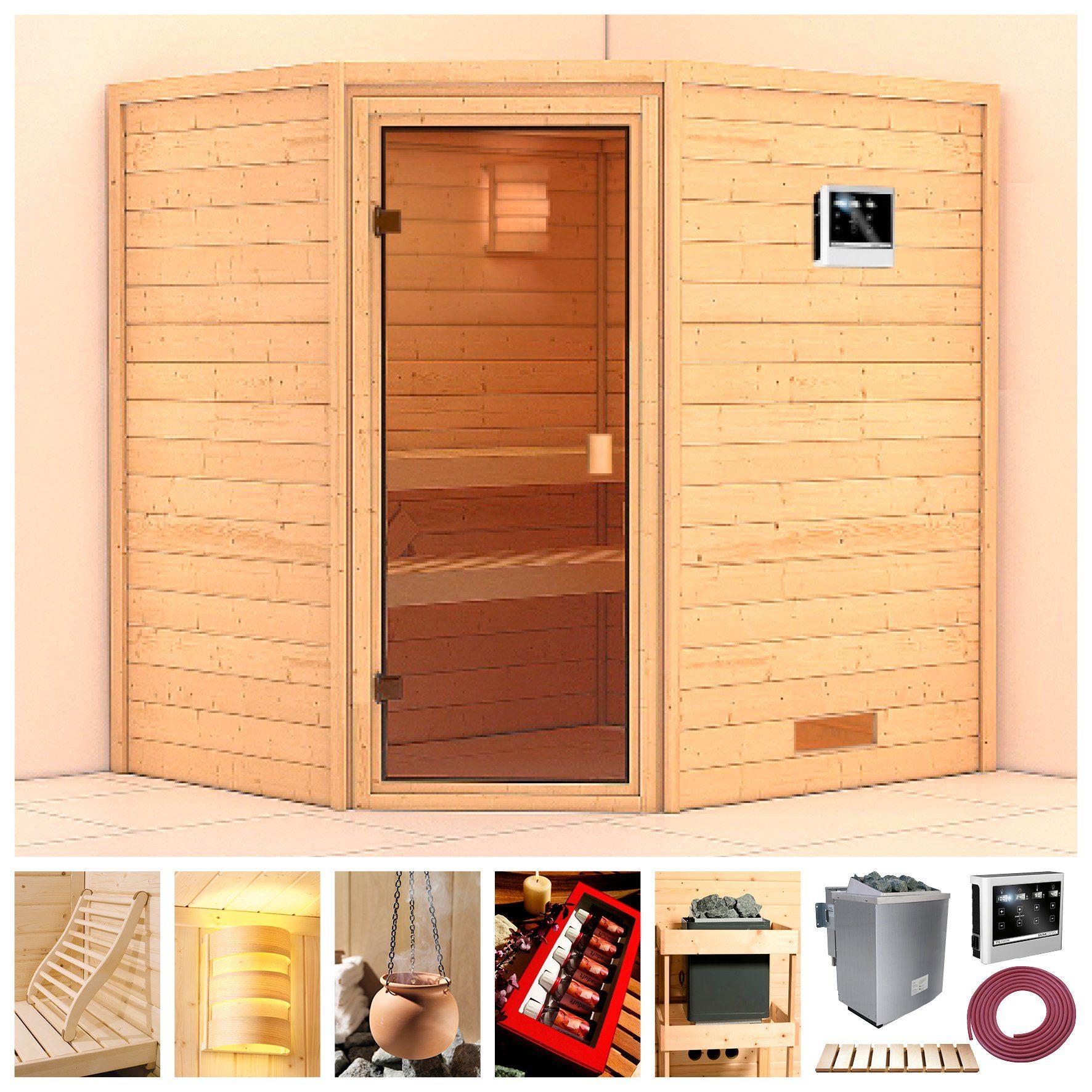 KARIBU Sauna »Langeoog«, BxTxH: 196x170x198 cm, 9 kW Ofen mit ext. Steuerung