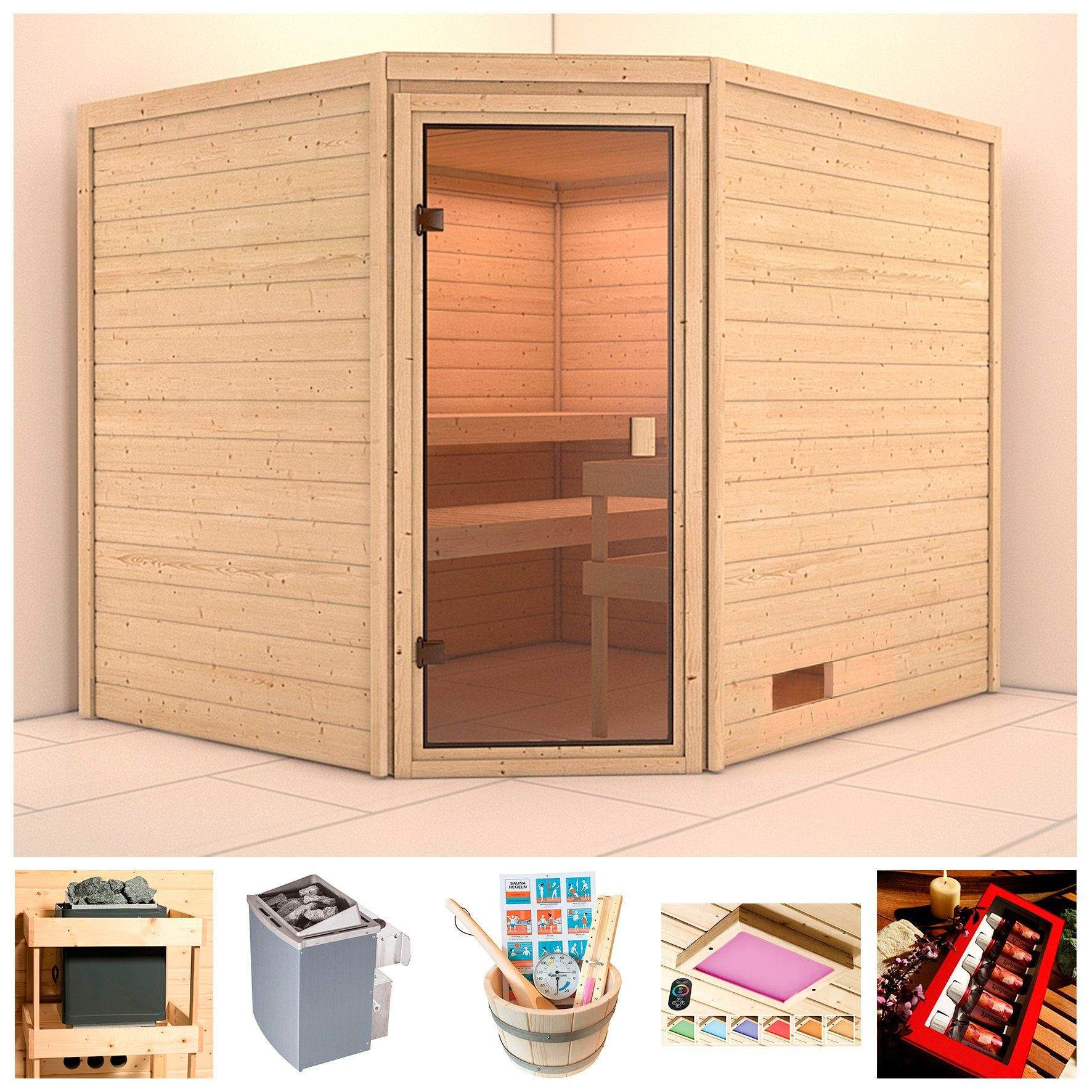 KARIBU Sauna »Trixi«, BxTxH: 231x196x187 cm, 9 kW Ofen mit int. Steuerung