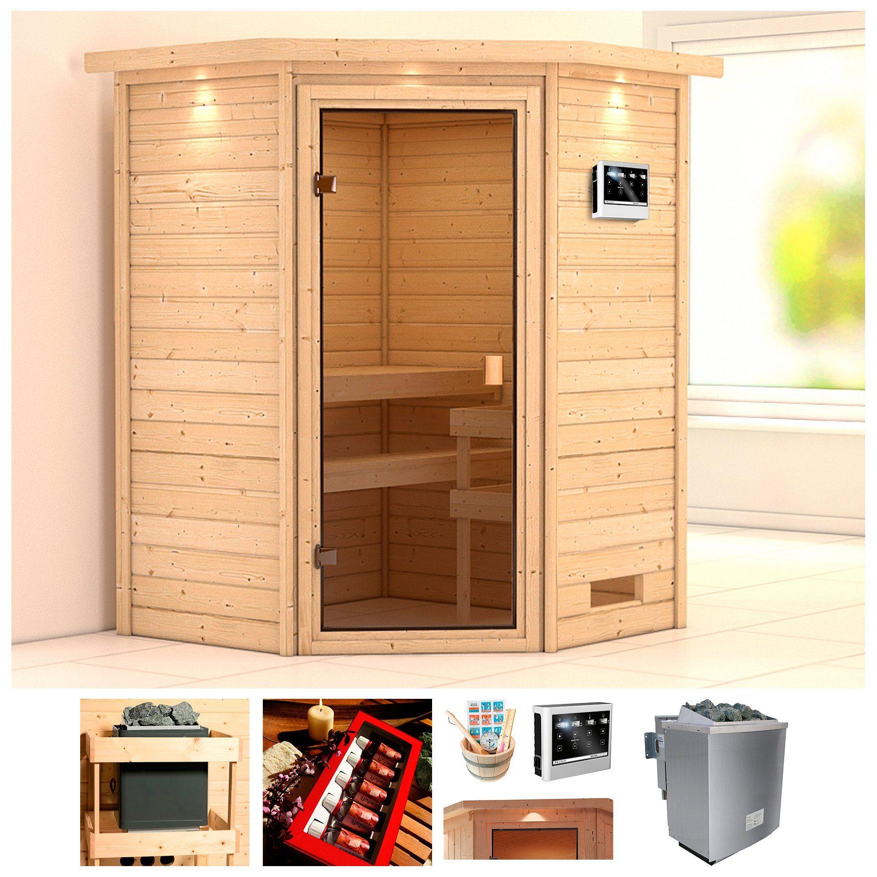 KARIBU Sauna »Wangerooge«, BxTxH: 174x160x191 cm, 9 kW Bio-Kombiofen mit ext. Steuerung
