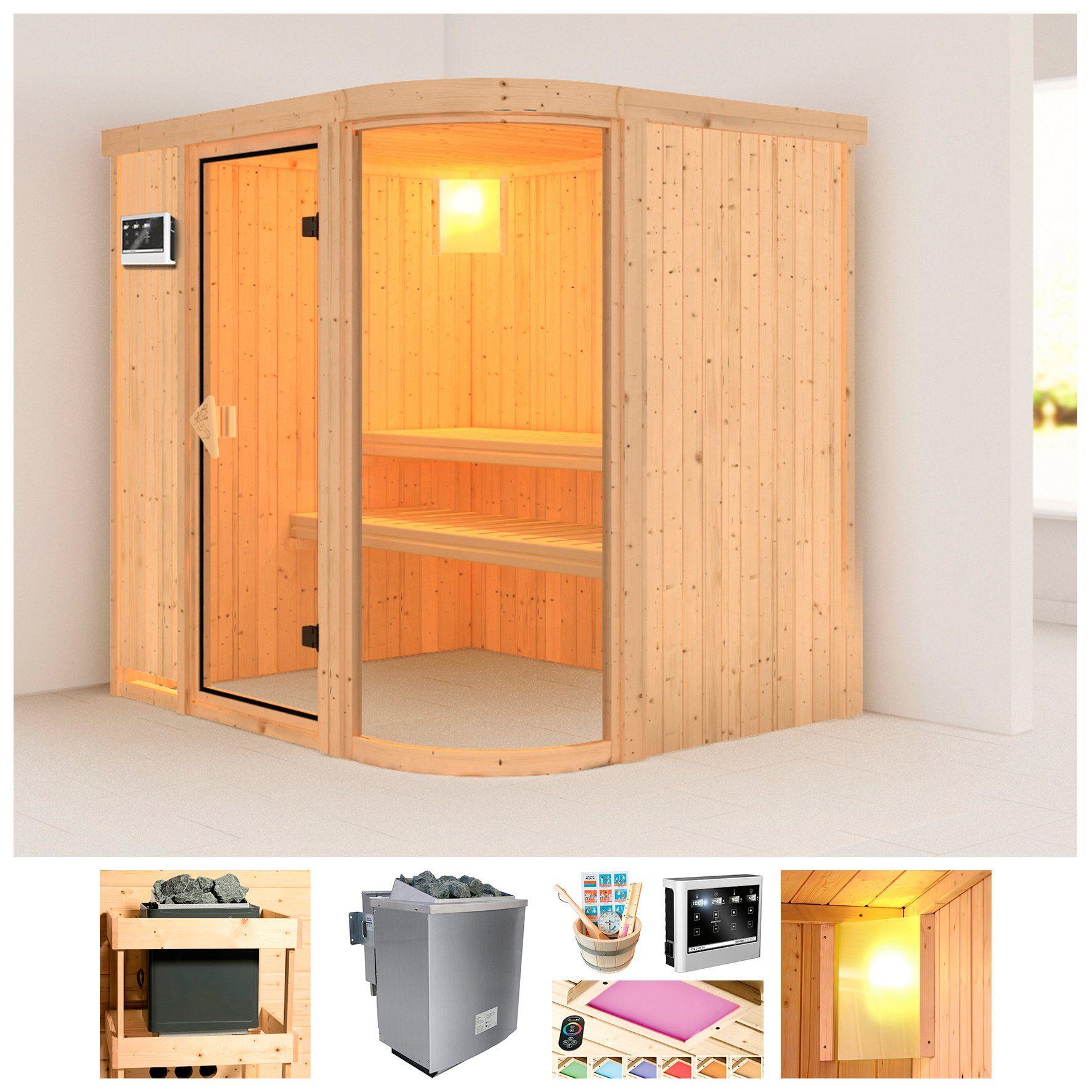 KONIFERA Sauna »Föhr«, BxTxH: 196x151x198 cm, 9 kW Ofen mit ext. Steuerung