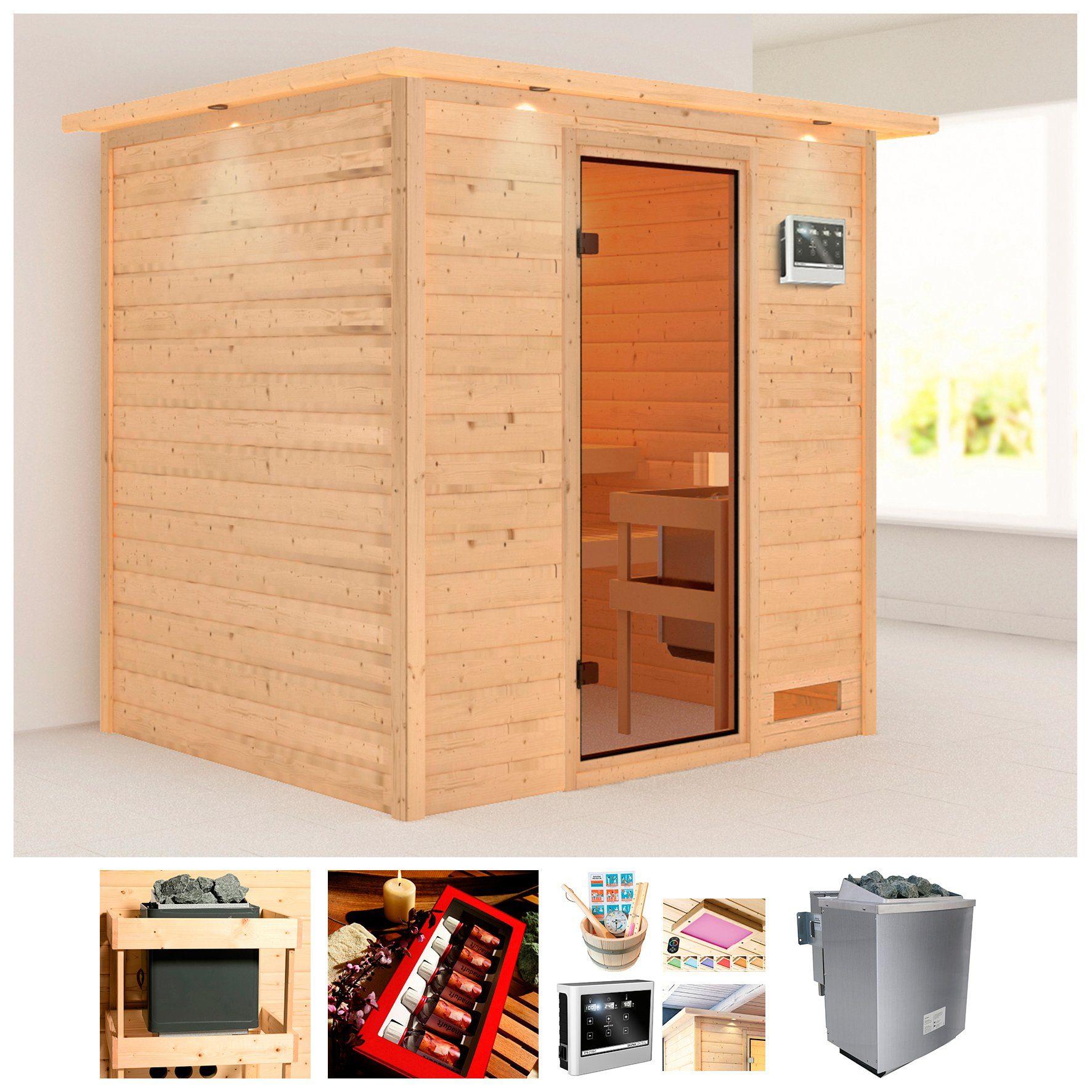 KARIBU Sauna »Ricky«, BxTxH: 224x184x191 cm, 9 kW Bio-Kombiofen mit ext. Steuerung