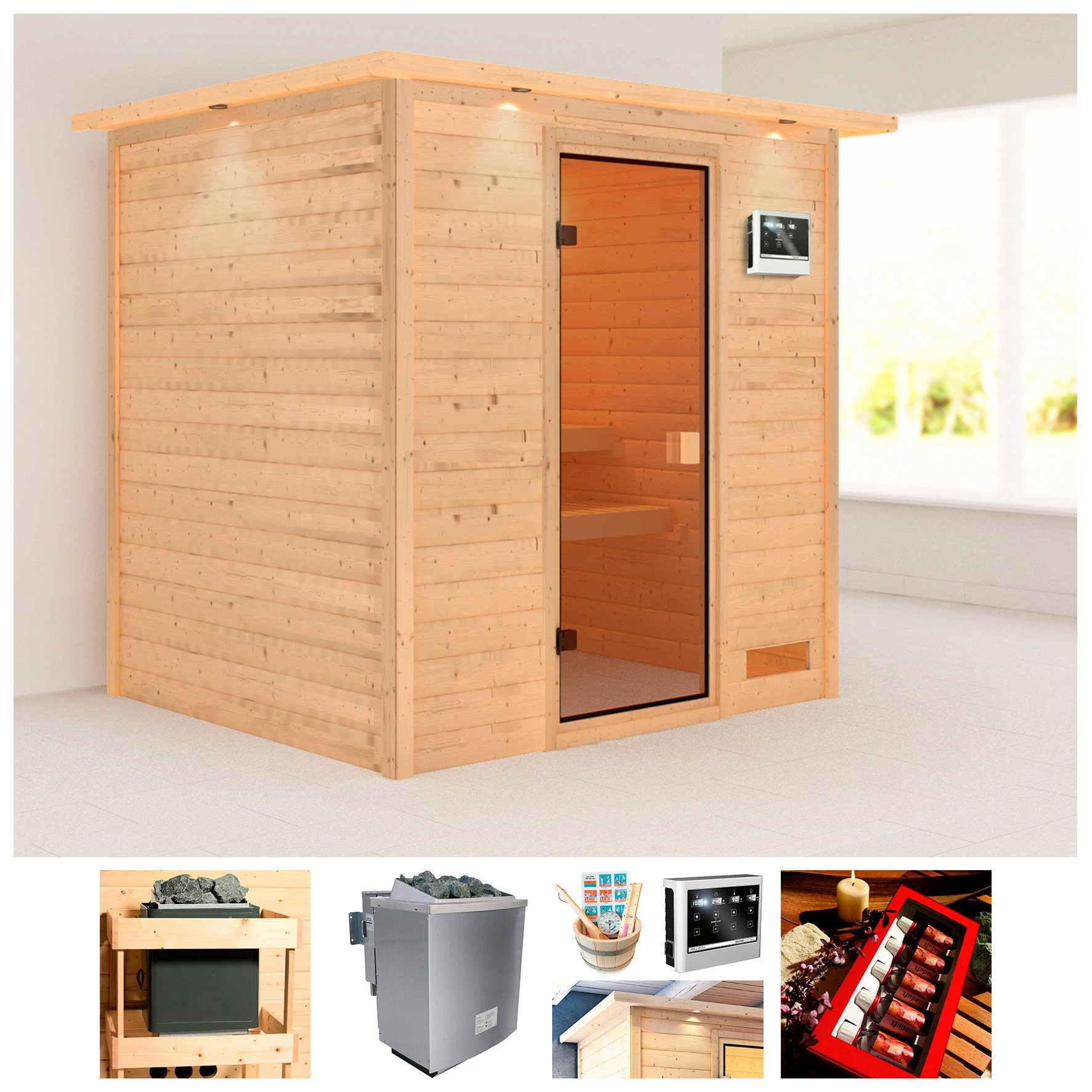 KARIBU Sauna »Wangerooge«, BxTxH: 224x184x191 cm, 9 kW Ofen mit ext. Steuerung