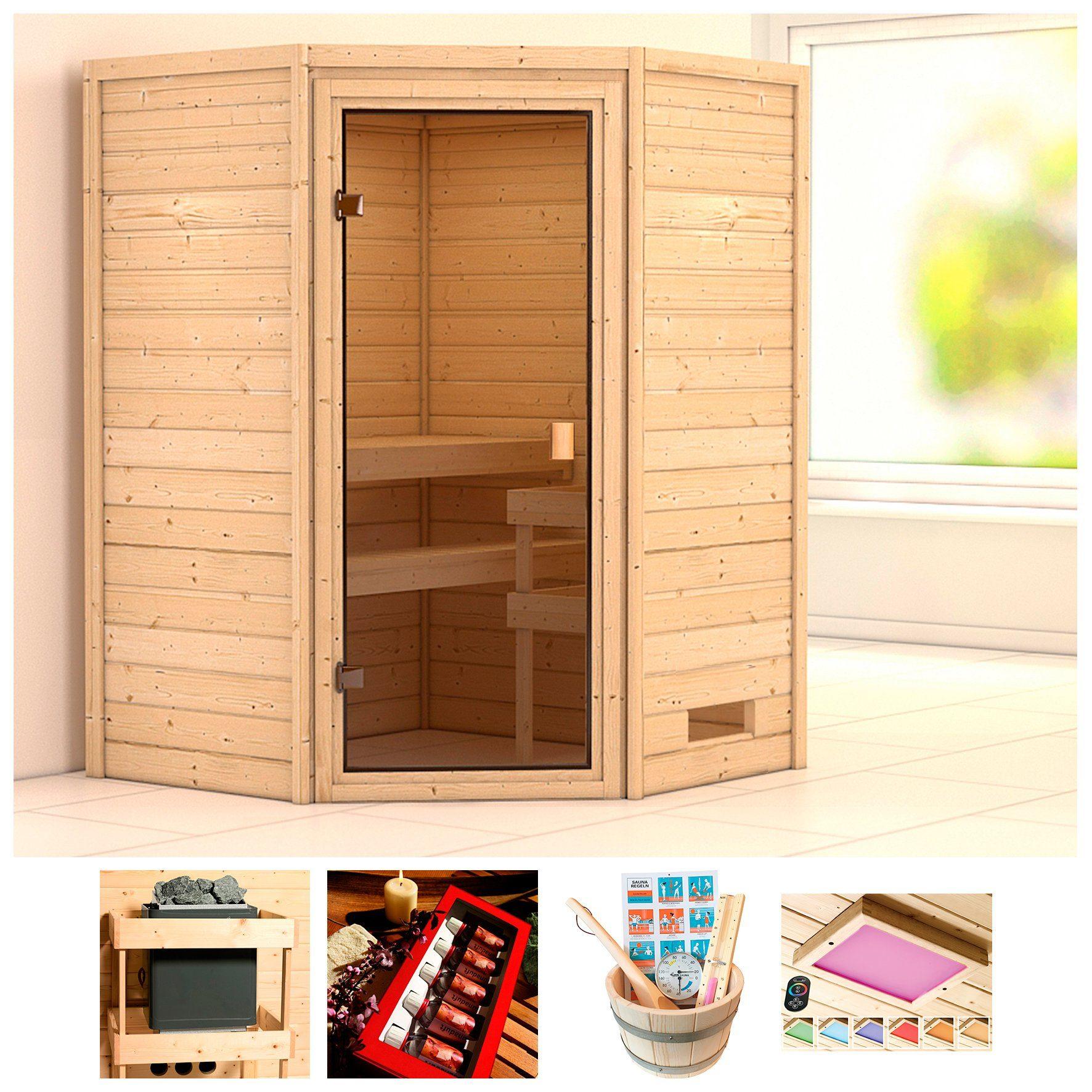 KARIBU Sauna »Meggie«, BxTxH: 146x146x187 cm, ohne Ofen