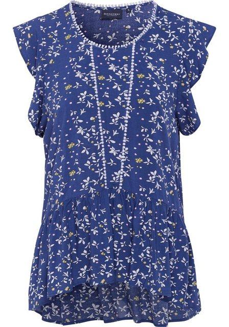 Damen BROADWAY NYC FASHION Schlupfbluse Cilina mit Bommel-Borten und floralem Allovermuster blau | 04059203543865