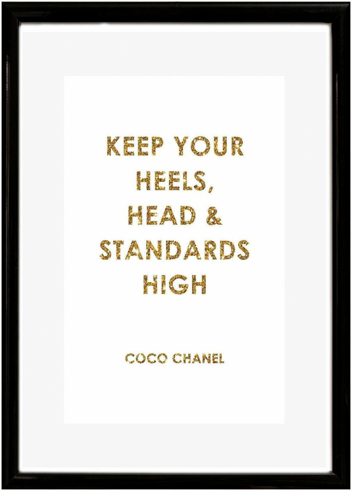 Home affaire Bild »Spruch: Keep your heels, …«, Schriftzug, 30/40 cm, gerahmt