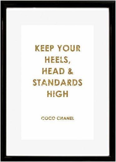 Leonique Bild »Spruch: Keep your heels, …«, Schriftzug, 30/40 cm, gerahmt