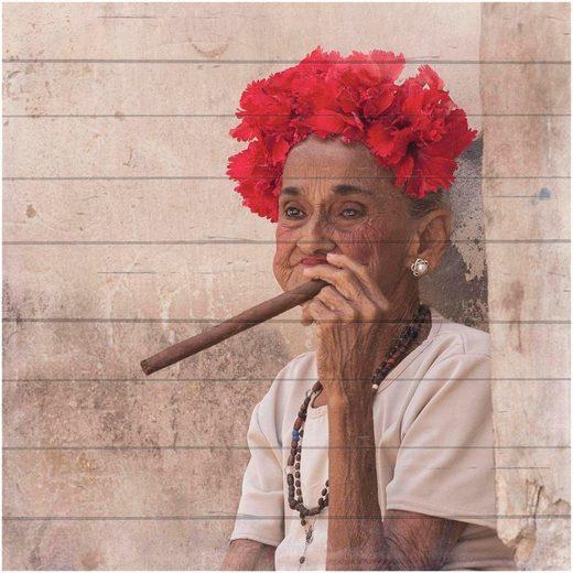 Home affaire Holzbild »Havanna Lady mit Kopfschmuck«, 40/40 cm