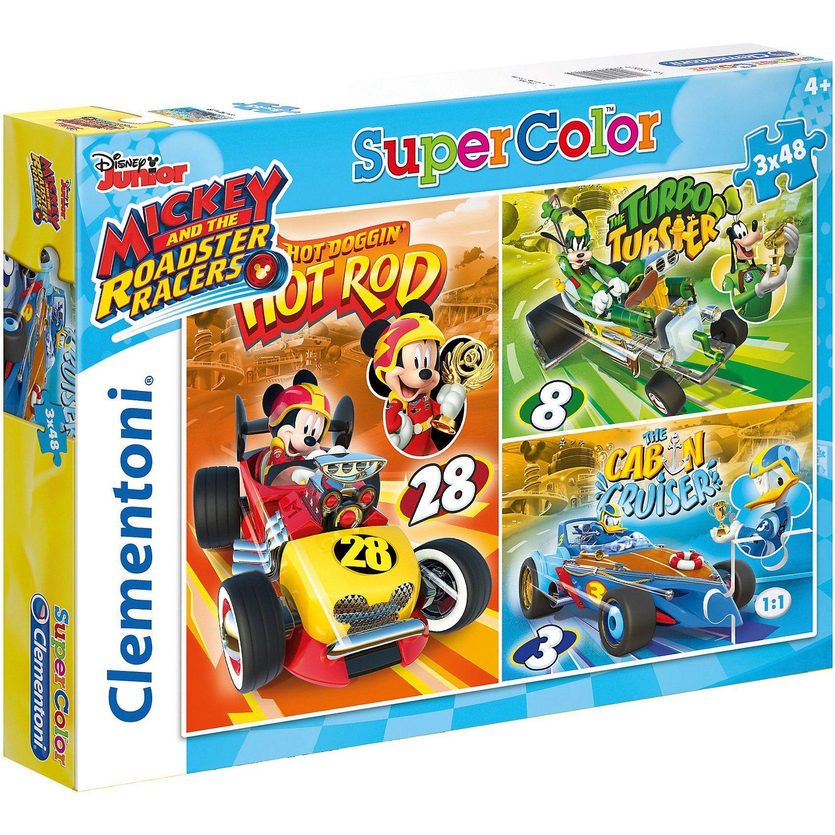 Clementoni® Puzzle 3 x 48 Teile - Micky und die flinken Flitzer