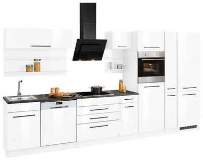 HELD MÖBEL Küchenzeile »Tulsa«, ohne E-Geräte, Breite 380 cm, schwarze Metallgriffe, hochwertige MDF Fronten