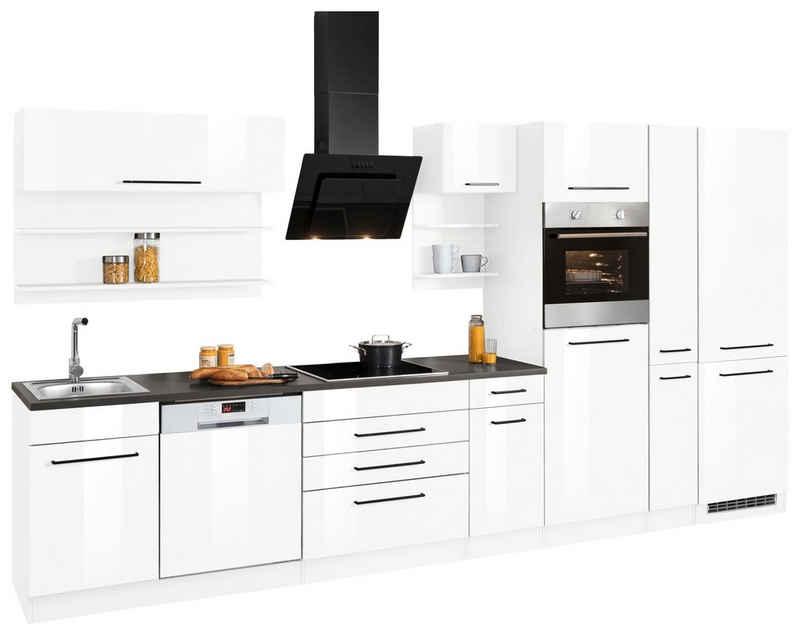 HELD MÖBEL Küchenzeile »Tulsa«, mit E-Geräten, Breite 380 cm, schwarze Metallgriffe, hochwertige MDF Fronten