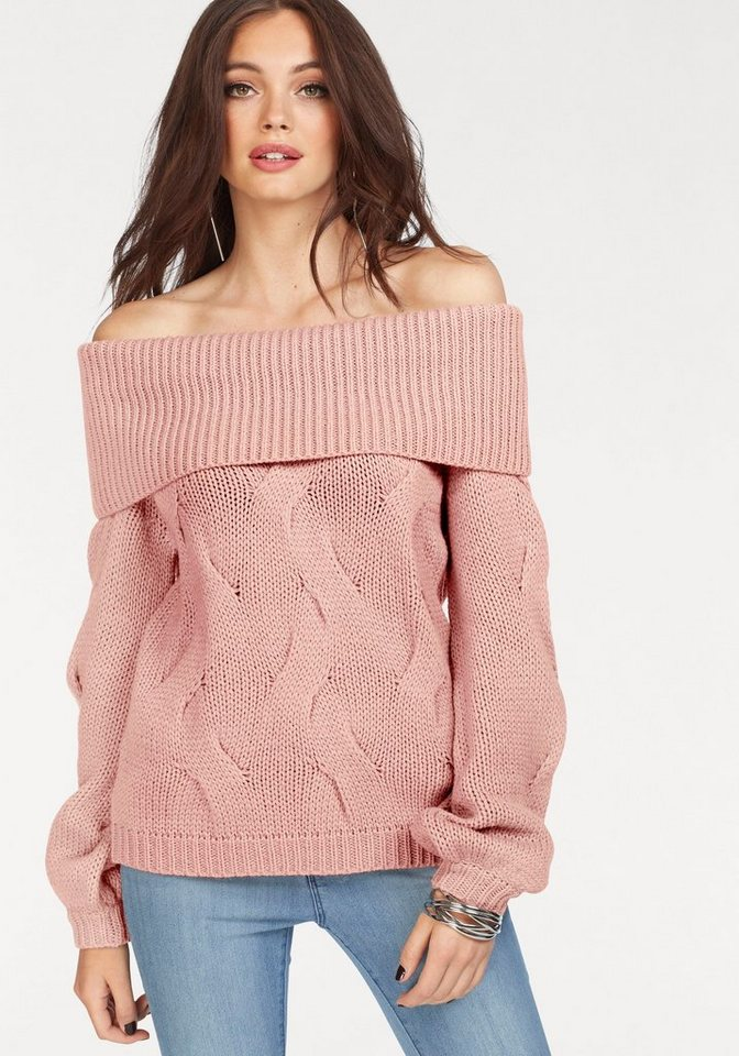 Vila Carmenpullover »CABLA« mit Wolle | Bekleidung > Pullover > Carmenpullover | Rosa | Vila