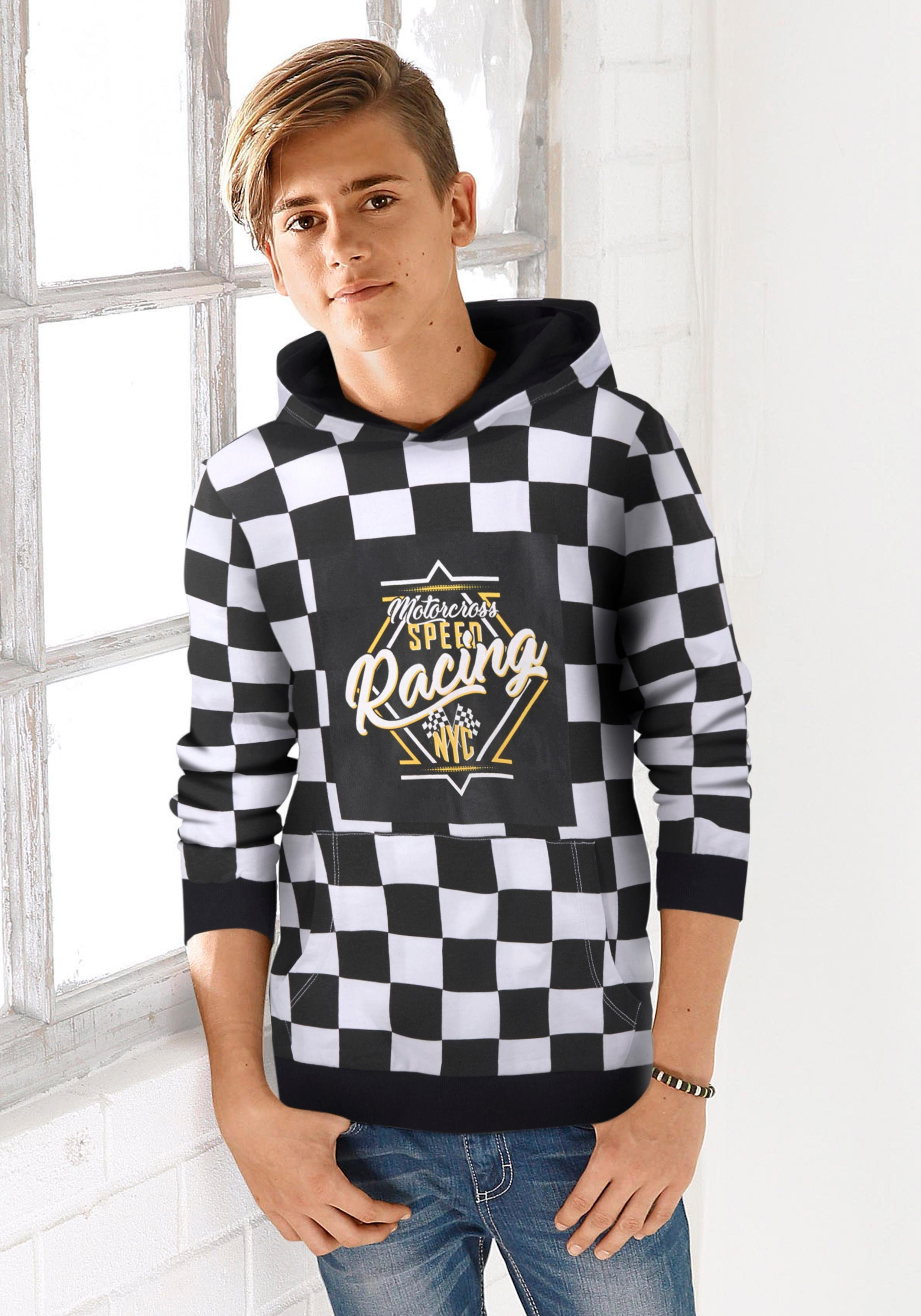 Arizona Kapuzensweatshirt in coolem Allover-Druck
