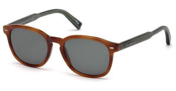 Ermenegildo Zegna Herren Sonnenbrille » EZ0005«, braun, 53N - havana/grün