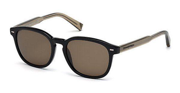 Ermenegildo Zegna Herren Sonnenbrille » EZ0044«, schwarz, 01D - schwarz/grau