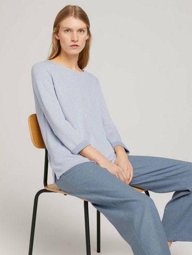 TOM TAILOR Longsweatshirt »Sweatshirt mit melierter Innenseite«