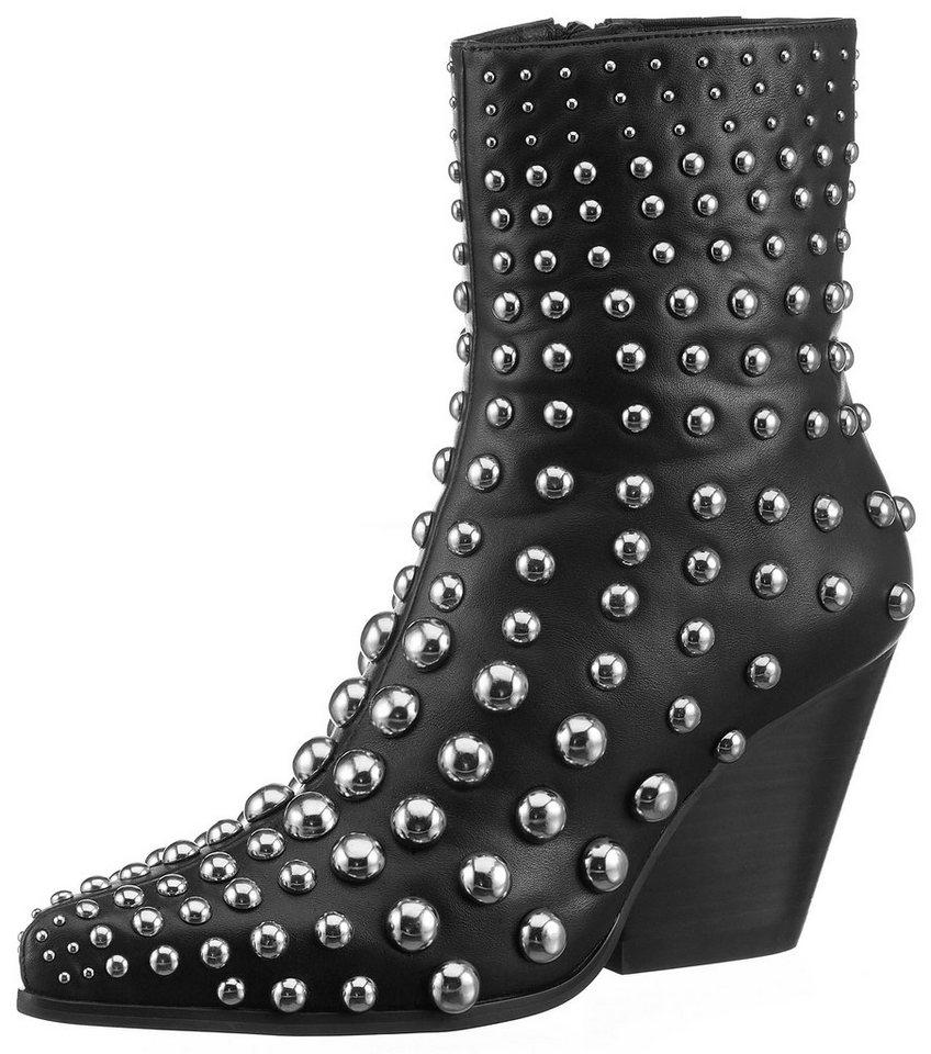 Jeffrey Campbell Westernstiefelette mit Nieten-Deko | Schuhe > Stiefel > Westernstiefel | Schwarz | Leder - Jeans | Jeffrey Campbell