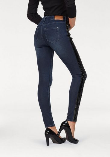Arizona Slim-fit-Jeans »mit schwarzem Lackstreifen« Mid Waist