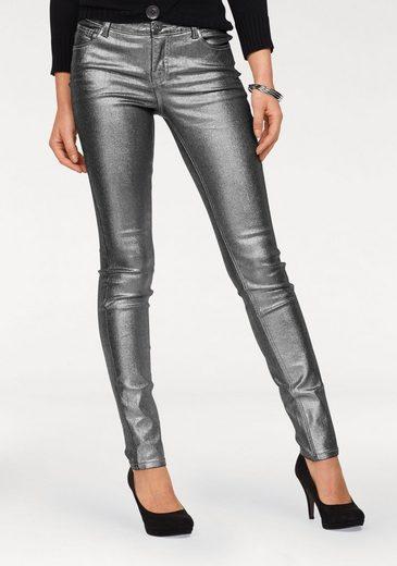 Arizona Slim-fit-Jeans »mit silberfarbener Beschichtung« Mid Waist