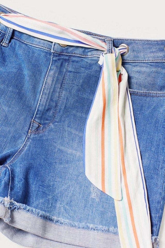 Damen EDC BY ESPRIT Stretch-Jeans-Shorts mit Bandana-Gürtel blau | 04061354534166
