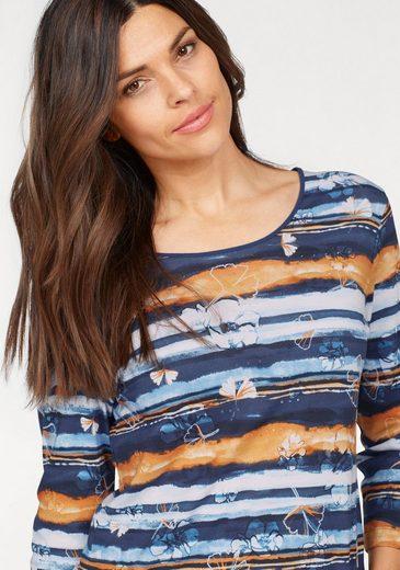 print Blau Mit Allover Und shirt Ziersteinen Print Rabe weiß orange mvnwNy0PO8
