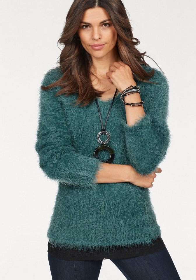 Damen Boysen s V-Ausschnitt-Pullover aus weichem Federgarn grün | 06932342360402