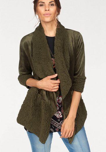 Boysen's Strickjacke Oversize im modischem Materialmix
