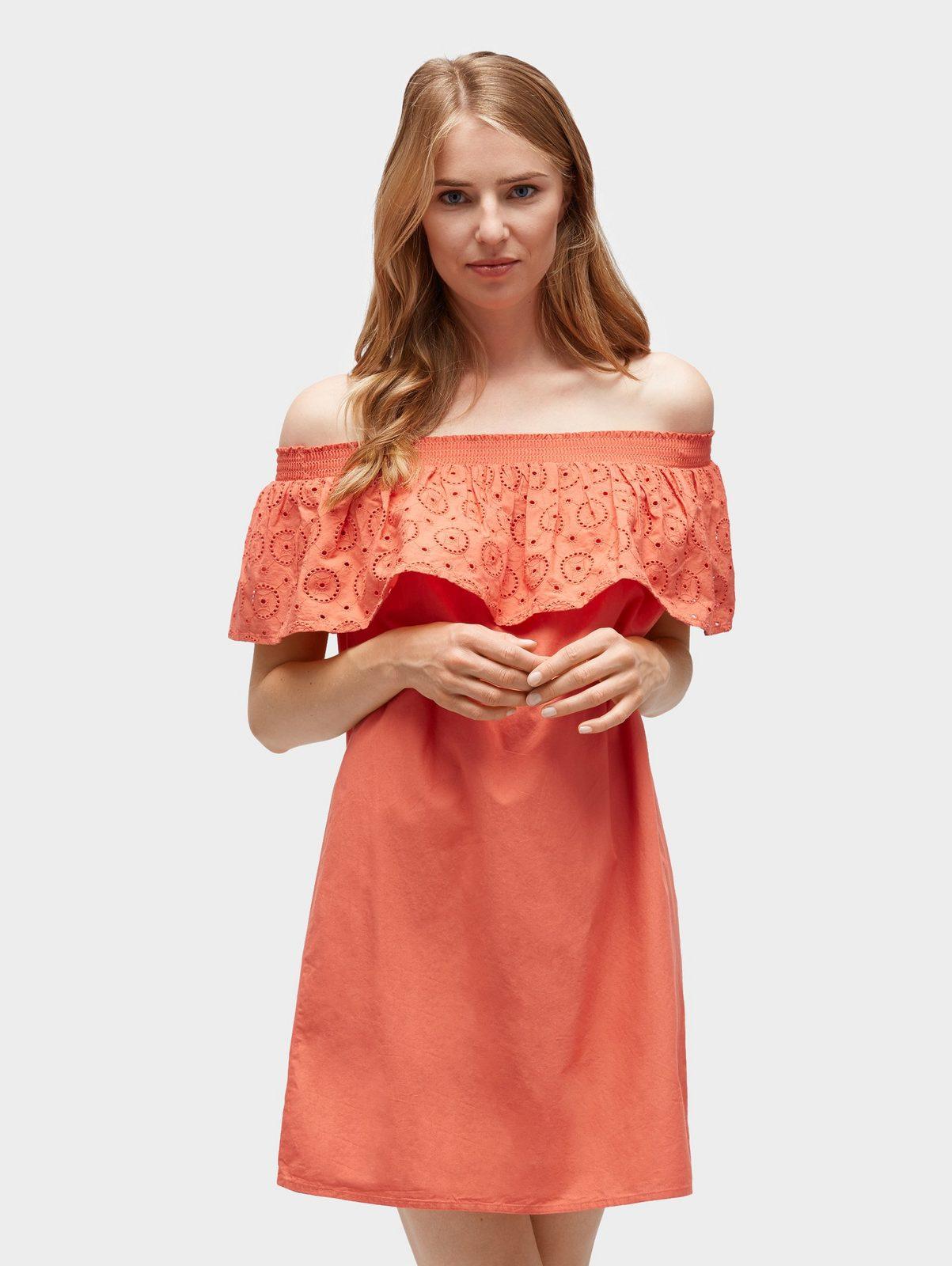 Tom Tailor Denim Sommerkleid »Off-Shoulder Kleid mit Lochstickerei«