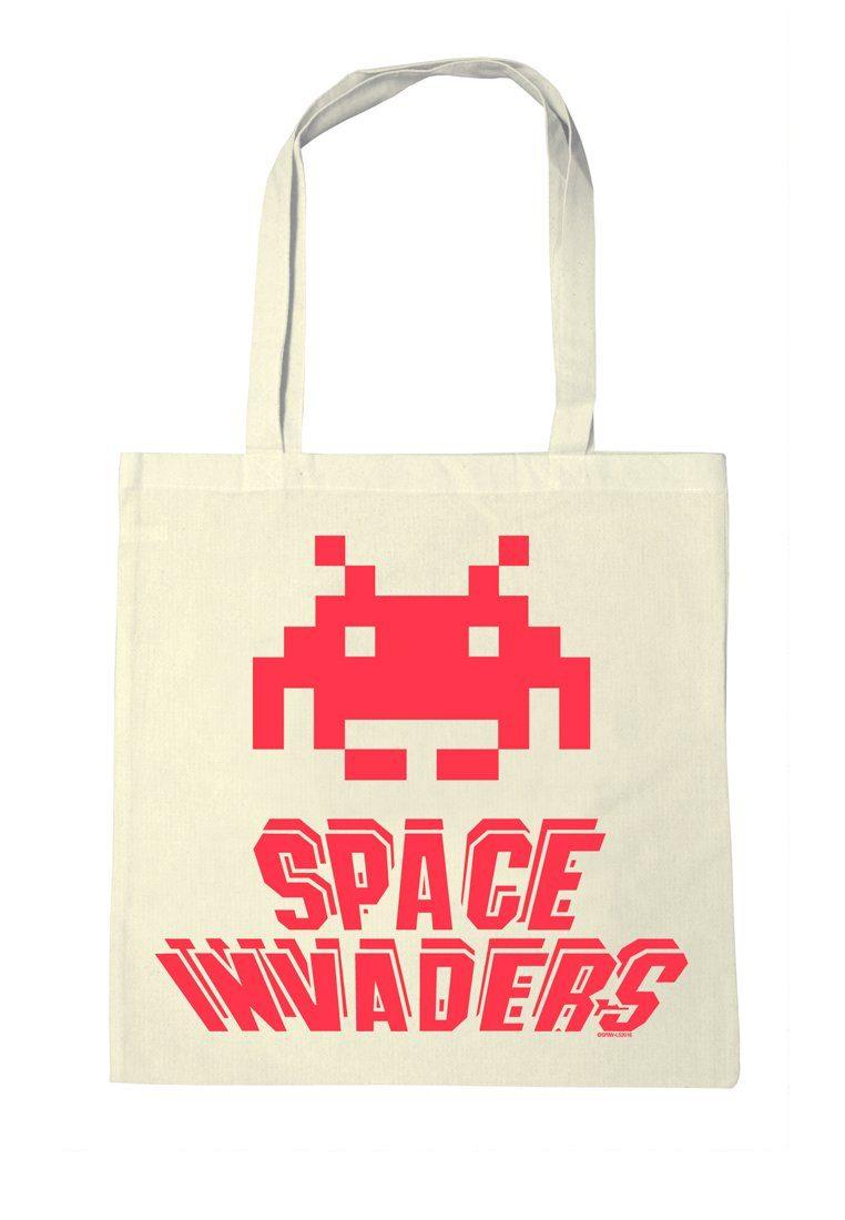 LOGOSHIRT Stofftasche mit Space Invaders-Druck