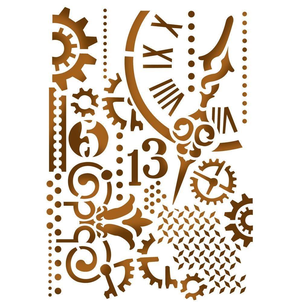 """Stamperia Mal-Schablone """"Uhr"""" DIN A5"""