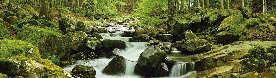 PAPERMOON Fototapete »Soft Water Stream Panorama«, Vlies, 2 Bahnen, 350 x 100 cm