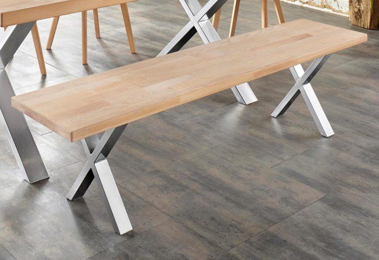 Sitzbank »Faaborg«, Breite 180 cm mit X-Gestell in Chrom glänzend