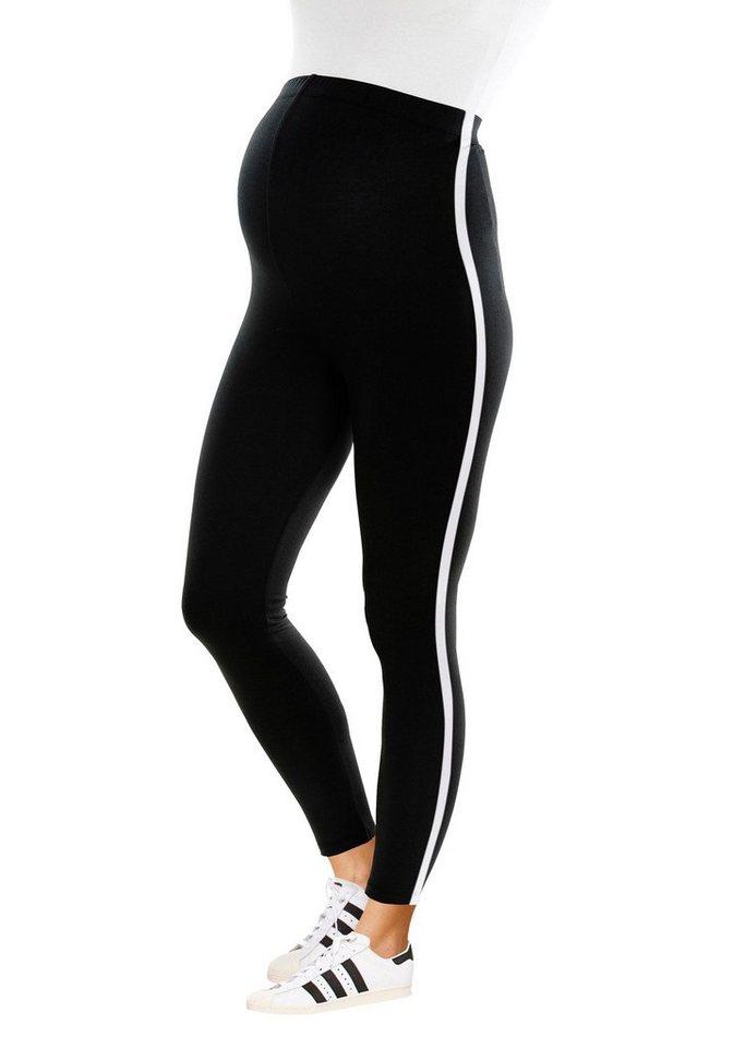 Damen Neun Monate  Umstandsleggings mit kontrastfarbigem Streifen schwarz | 08696798032662