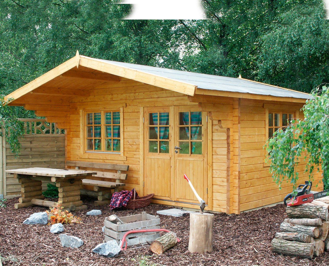 WOLFF FINNHAUS Gartenhaus »Nordkap 70-D«, BxT: 500x500 cm, inkl. Fußboden | Garten > Bodenbeläge-Garten | Wolff