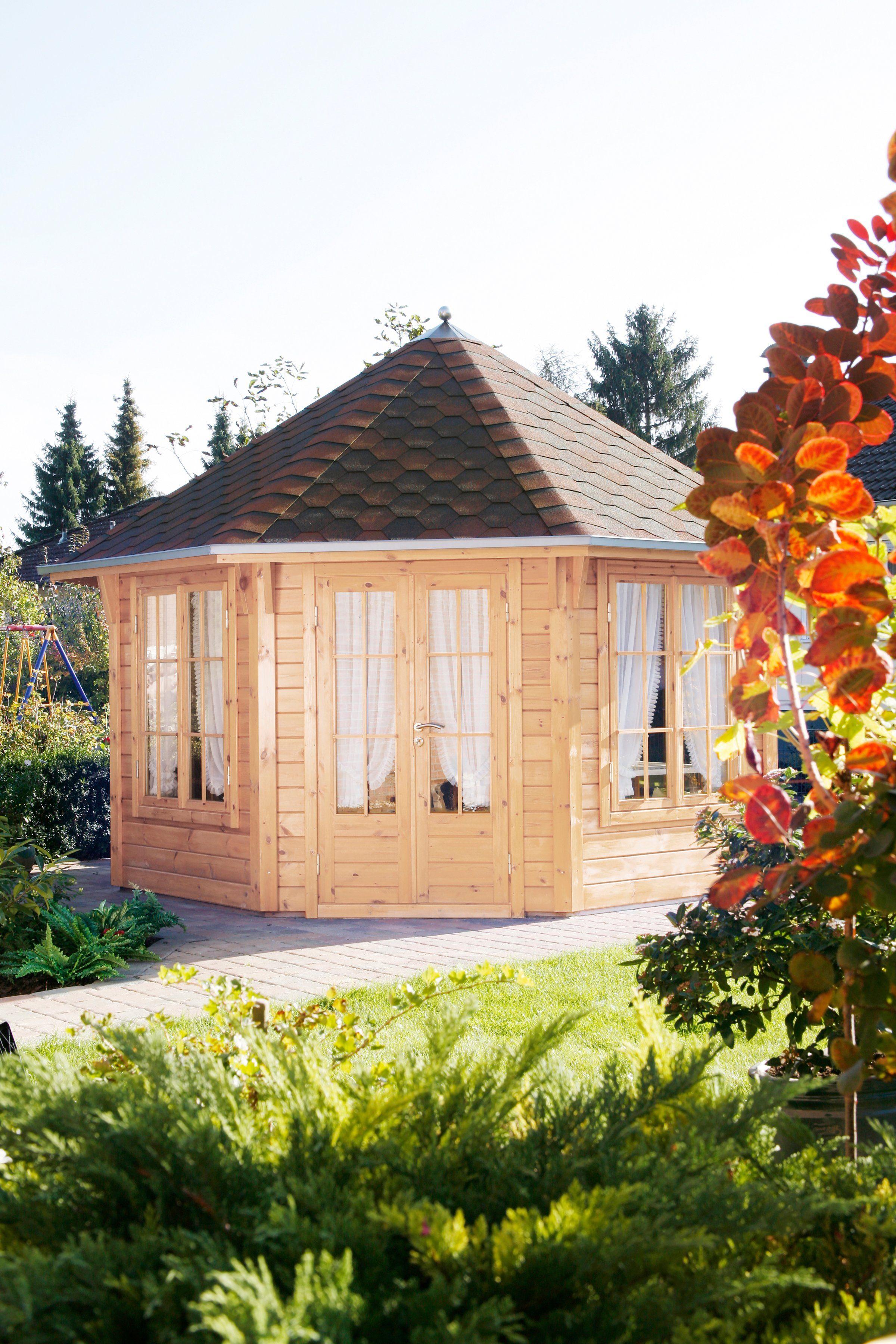 WOLFF Holzpavillon »Roma 4.0«, BxT: 480x480 cm, mit kupfer-schwarzen Schindeln