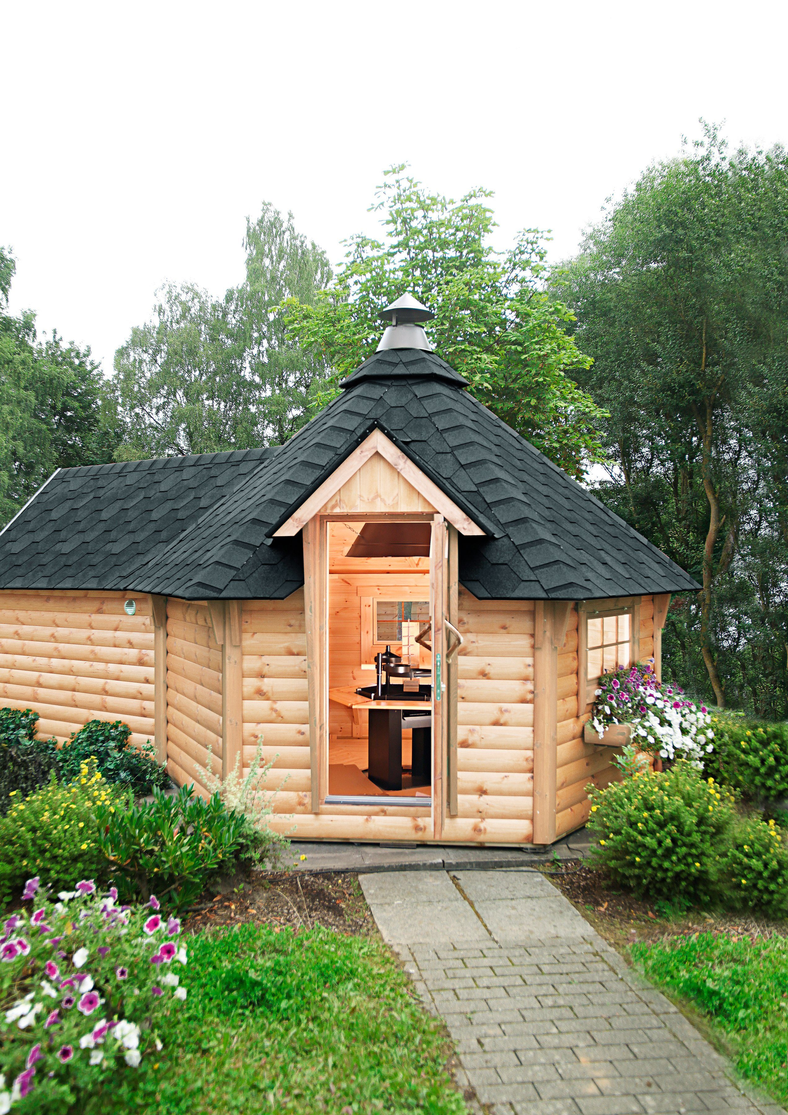 WOLFF Grillkota »9 de luxe«, BxT: 426x630 cm, mit Sauna-Anbau und schwarzen Schindeln