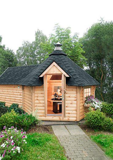 WOLFF FINNHAUS Grillkota »9 de luxe«, BxT: 426x630 cm, mit Sauna-Anbau und schwarzen Schindeln