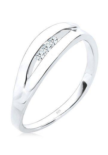 Diamore Diamantring »Klassisch Trio Diamant (0.09 ct) 925 Silber«