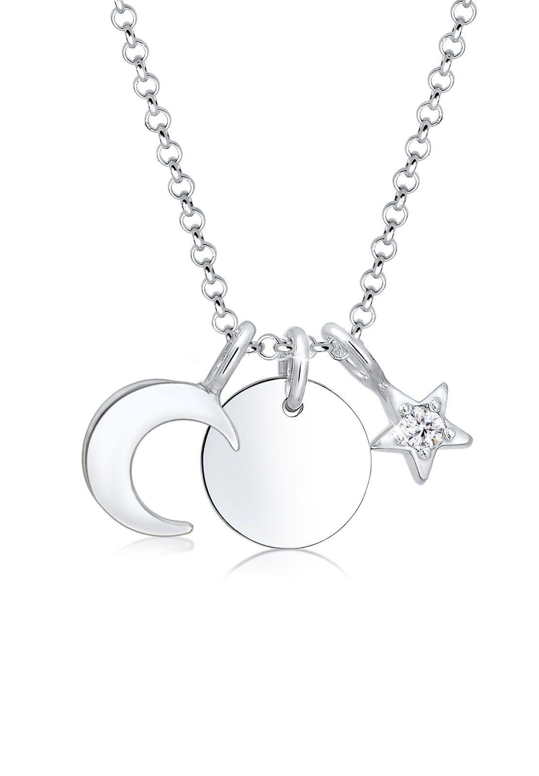 Elli Collierkettchen »Halbmond Stern Swarovski® Kristalle 925 Silber«
