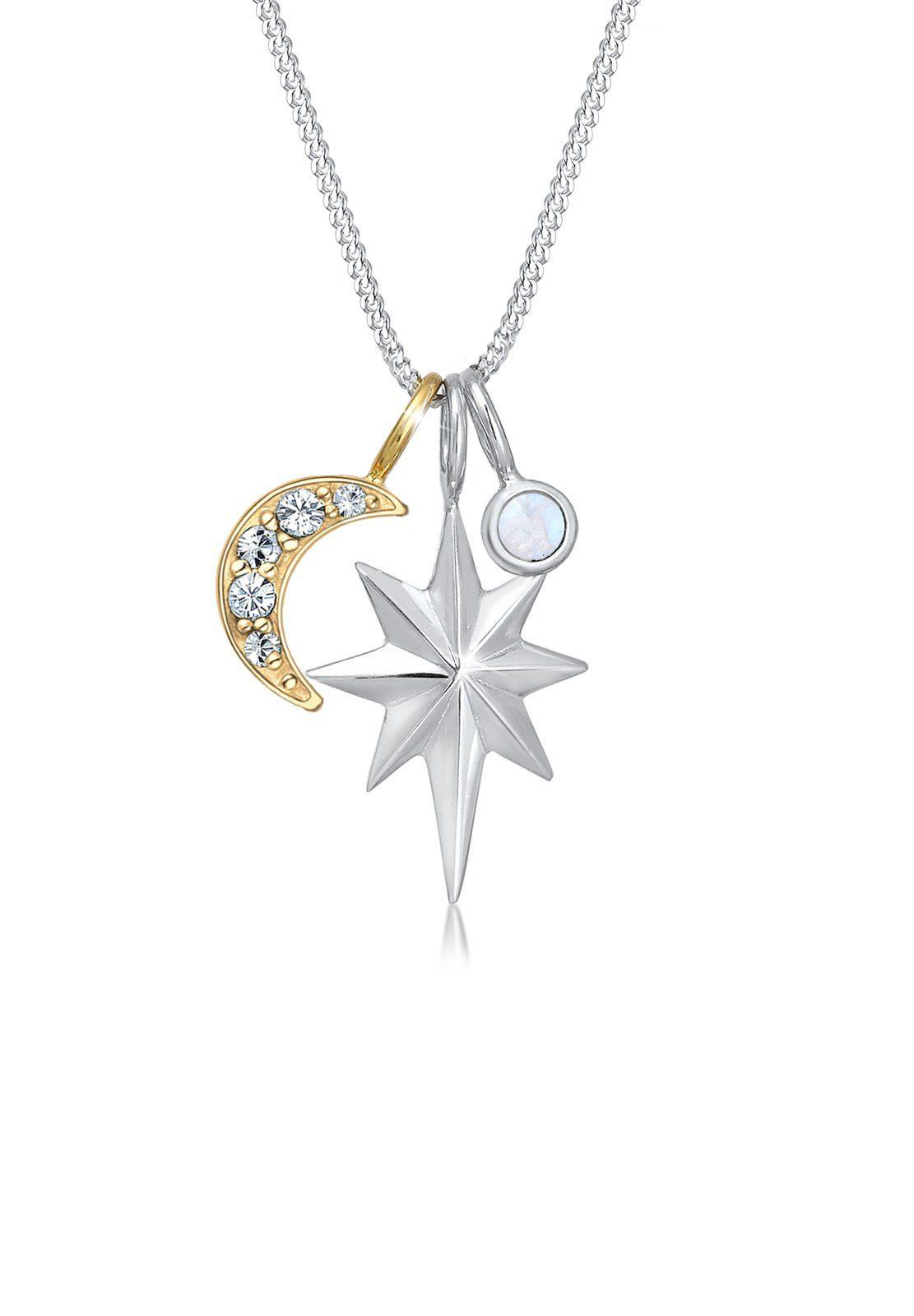 Elli Collierkettchen »Stern Mondstein Swarovski® Kristalle Silber«