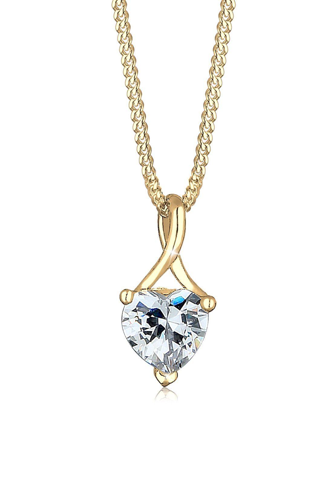 Elli Collierkettchen »Herz Infinity Zirkonia 585 Gelbgold«