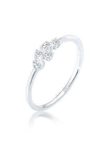 Diamore Diamantring »Verlobung Diamant (0.12 ct) Pavé 925 Silber«
