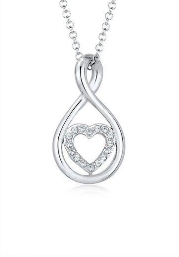 Elli Collierkettchen »Infinity Herz Swarovski® Kristalle 925 Silber«