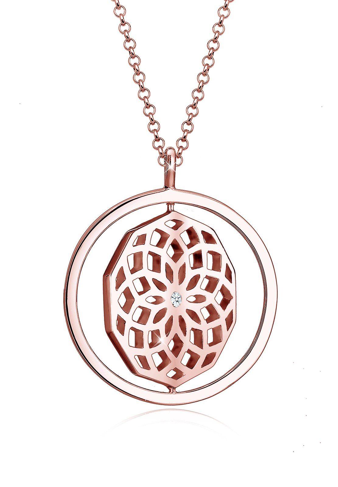 Diamore Kette mit Anhänger »Ornament Drehscheibe Diamant 925 Sterling Silber«
