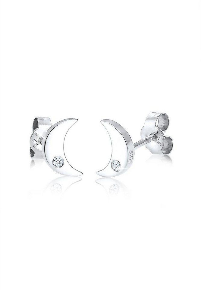 48f4e67b7954 Elli Paar Ohrstecker »Halbmond Astro Diamant (0.04 ct) 925 Silber ...