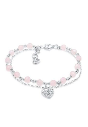 Elli Armband »Herz Kugel Kristalle 925 Silber«