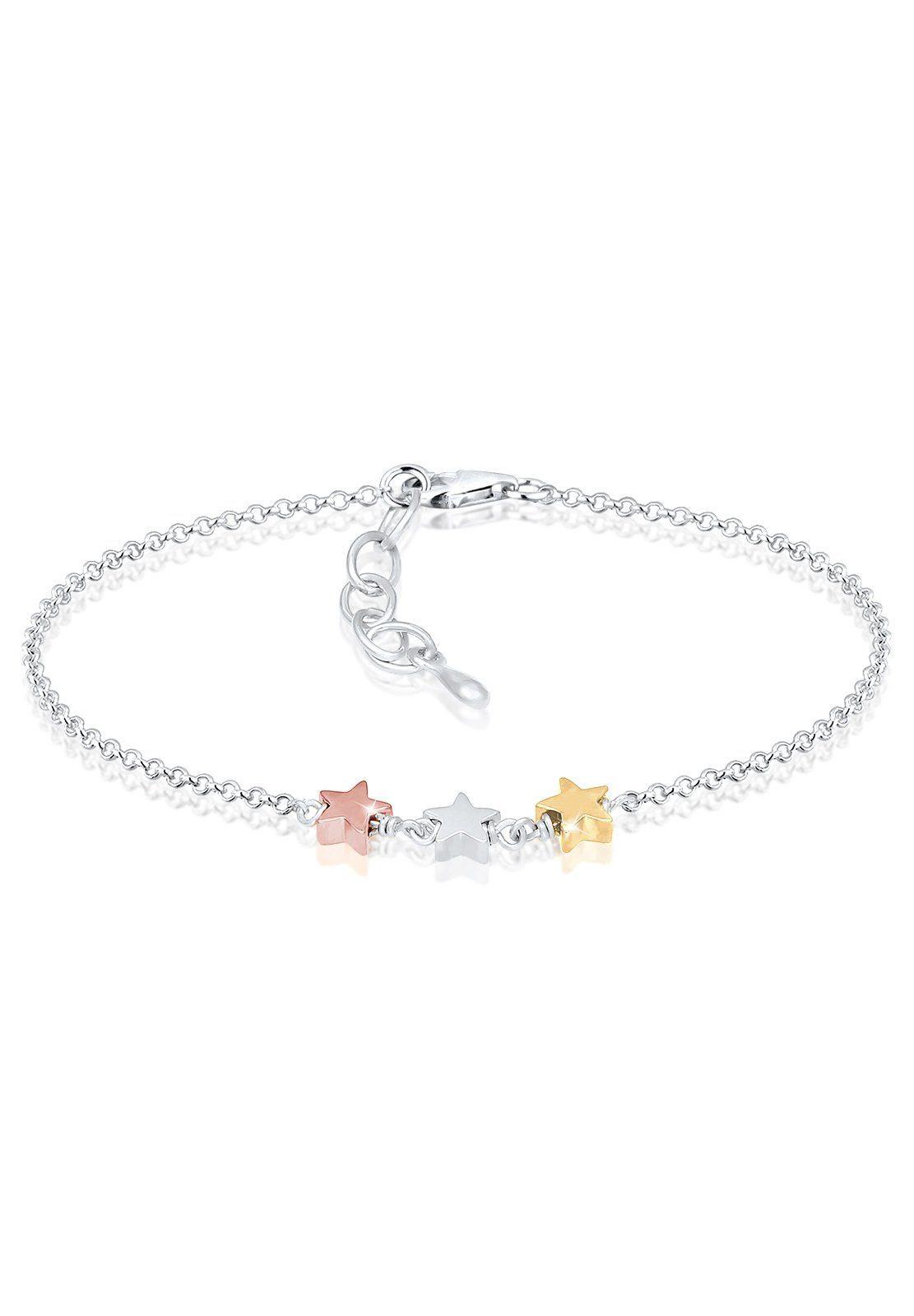 Elli Armband »Sterne Star Astro Tri-Color Trend Basic 925 Silber«
