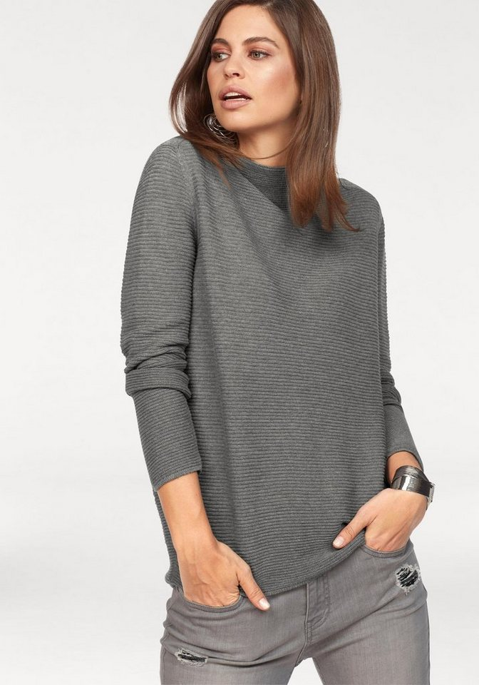 Monari Stehkragenpullover mit Strukturmuster | Bekleidung > Pullover > Stehkragenpullover | Grau | Monari
