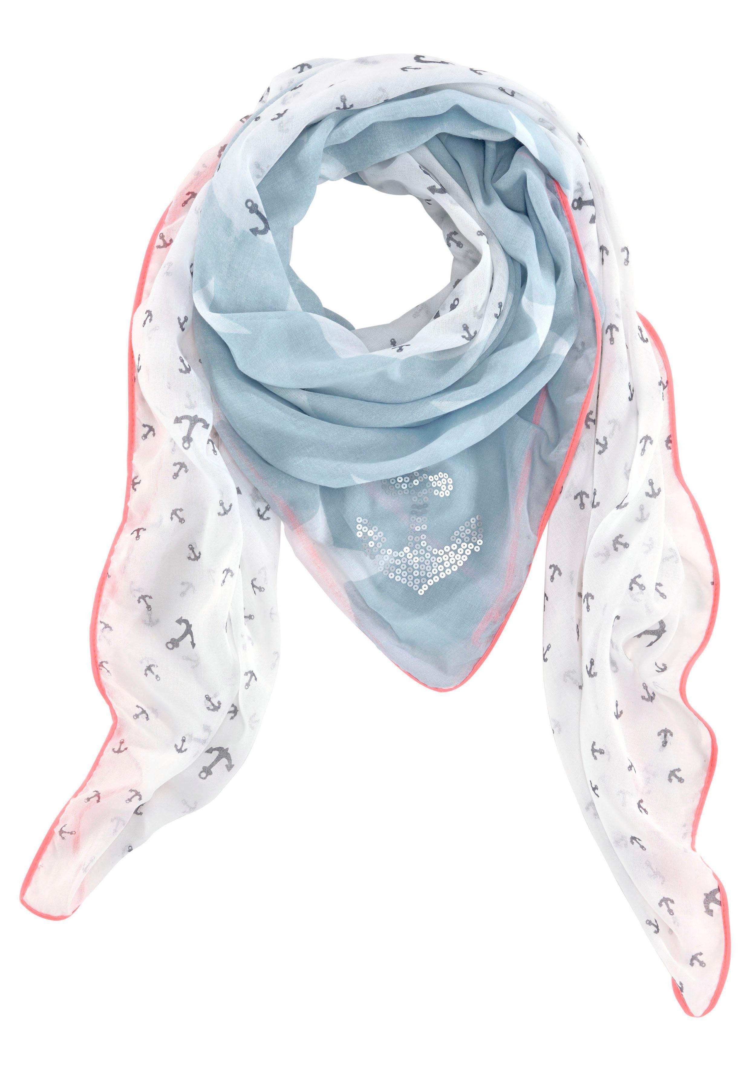 Colours Cosmetic Modetuch XXL-Tuch mit Neonrand, Anker und Sternen Print, Pailletten