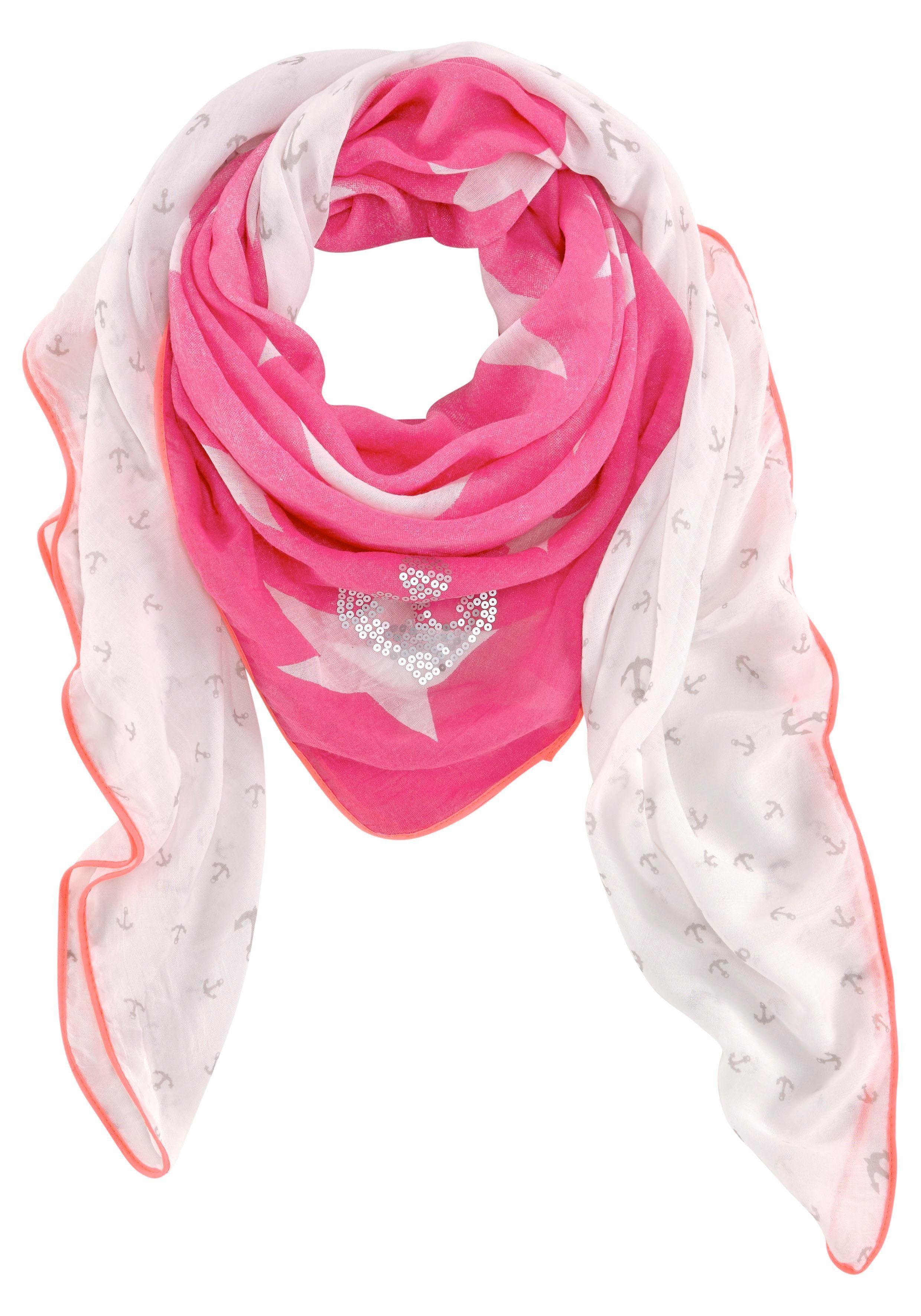 Colours Cosmetic Modetuch XXL-Tuch mit Pailletten, Anker- und Sternprint allover, Neonrand